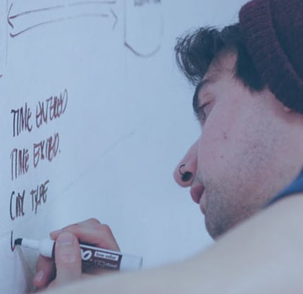 promotional opportunities: a man writes on a whiteboard