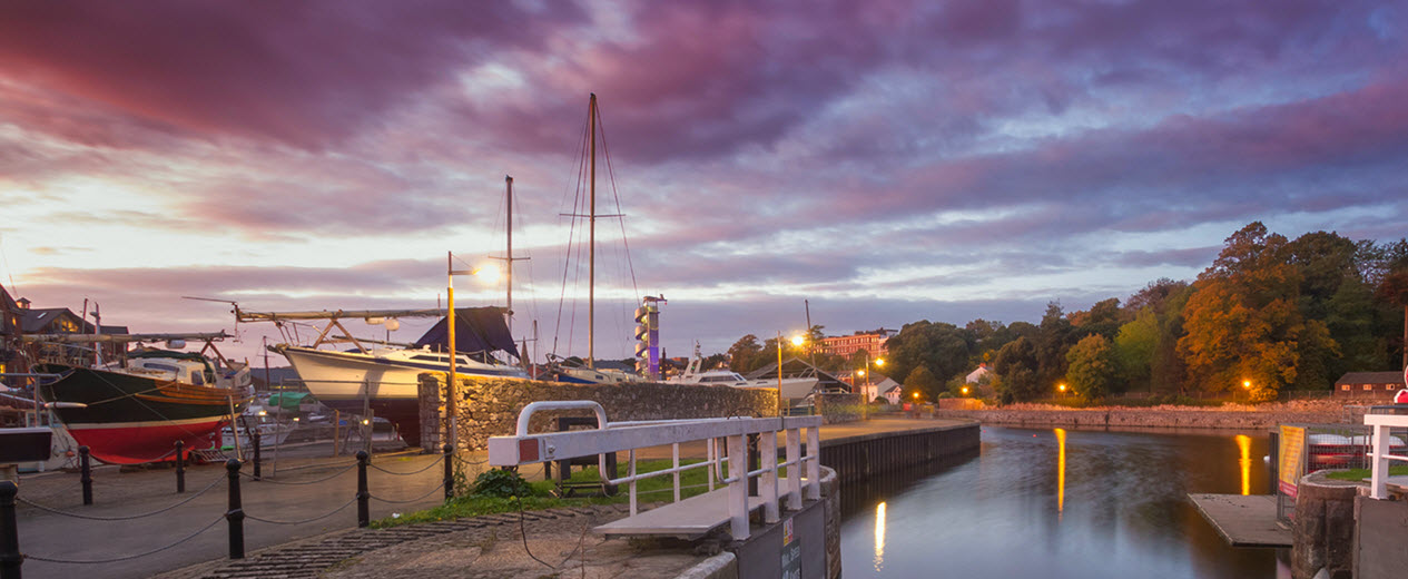 boats on the river Exe at sunset in the beautiful west country