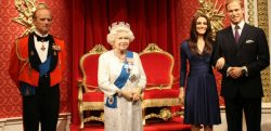 waxworks of prince Phillip, the Queen. Kate Middleton and Prince William at Madame Tussauds.