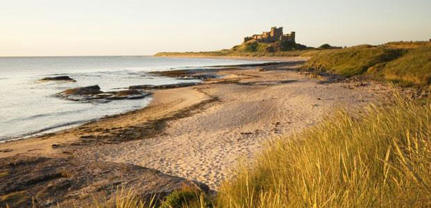 Sandunes on the Northumberland Coast with Bamburgh Castle in the distance