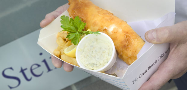 Rick Stein fish and chips, Padstow, Corwall