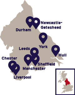 Map of Northern England cities