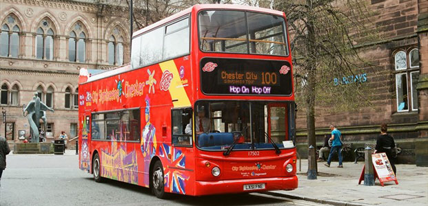 A sightseeing bus in Chester