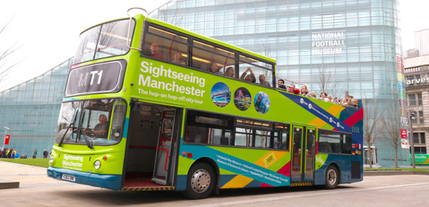 Sightseeing bus tours around the city of Manchester