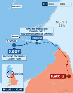 pink and blue map showing journey from Newcastle to Glasgow