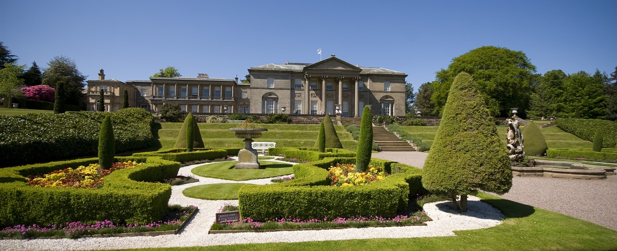 Tatton Park House and Gardens The historic house facade dating from the 18th century, and a formal garden design