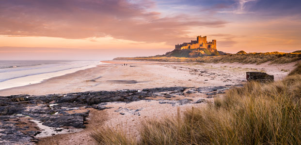 Bamburgh Castle, North East England.