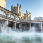 Steam rising off the Roman baths