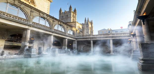 Steam rising off the Roman baths