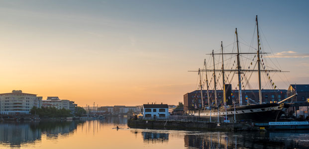 The SS Great Britain at sunset, moored in Bristol