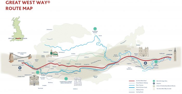 England's Great West Way® route map