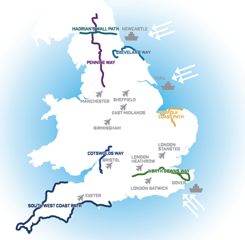 England's Great Walking Trails map