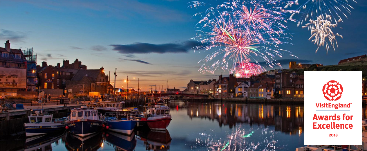 fireworks over a harbour with the Visit England Awards for Excellence logo overlaid